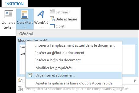Organiser et supprimer un QuickPart