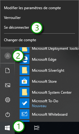 Windows 10 - Fermer une session